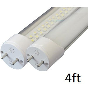 18 watt 12 volt Watt-a-Light T8 LED tube light ends with clear tube small LEDs revealed. Size indicates 4 feet.