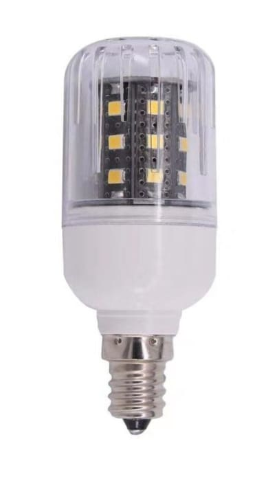 12 volt DC 3 Wall LED Corn Bulb with E12 copper/chrome candelabra base