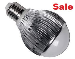 Bulb 7 Watt LED light bulb with silver base and frosted top. 'Sale' is on top right corner in red type
