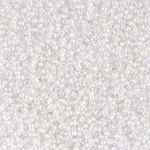 15-284 - 15/0 White Lined Crystal AB (Like DB 66) Miyuki Seed Bead | 125 Grams