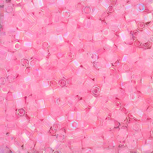 8C-2776 - 8/0 Cut Cotton Candy Pink Lined Crystal AB Miyuki Seed Bead | 125 Grams