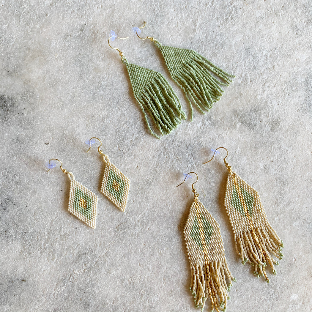 Mint & Gold seed bead earring collection - Scout Coffee