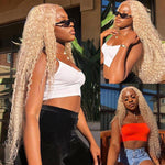 613Blonde Peruvian Curly Lace Front Wig