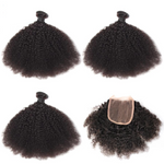 Afro Kinky Curly  2&3 Bundles With 4x4 Lace Closure - Lolette's Hair Bar