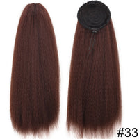 Synthetic Drawstring Afro Puff Kinky Straight Fake Bubble Ponytail