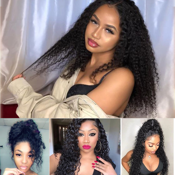 """Fake Scalp"" 13x6 Lace Front  Curly Wig (Medium Brown Lace)"