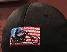 AMERICAN FLAG with BIKER SILHOUETTE.