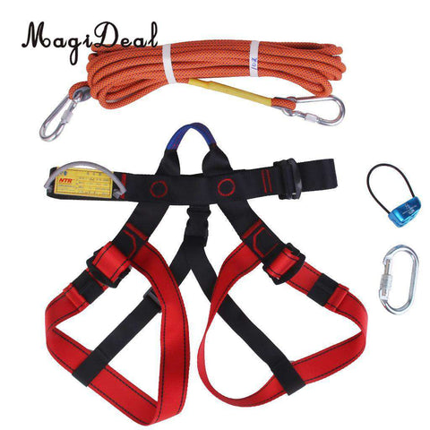 MagiDeal Professional1 Set Rock Climbing Kit Safety Harness+Rappel Belay+ Carabiner+ 10M Rope for Mountaineering Hiking Sports