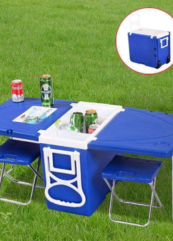 Multi Function Rolling Cooler With Table And 2 Chairs Picnic Camping Outdoor  HW51118