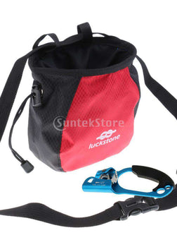 Rock Climbing Chalk Bag Pouch + Climbing Right Hand Ascender Belay Device for 8-12mm Rope