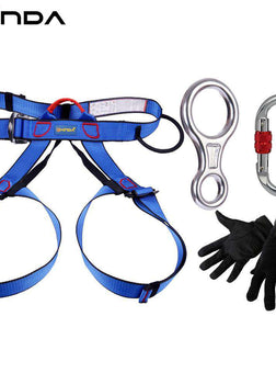 XINDA Professional Outdoor Equipment Rock Climbing Rappelling Rescue Escape Kits 4 Pieces Descender Carabiner Safety Belt Gloves