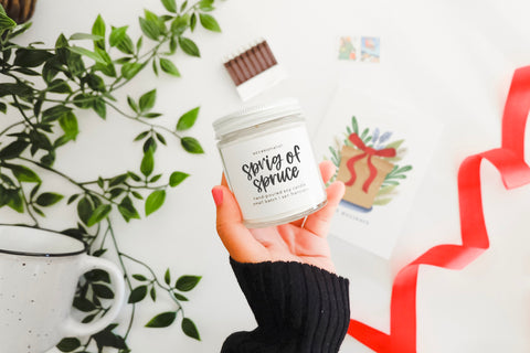 Sprig of Spruce hand poured soy candle
