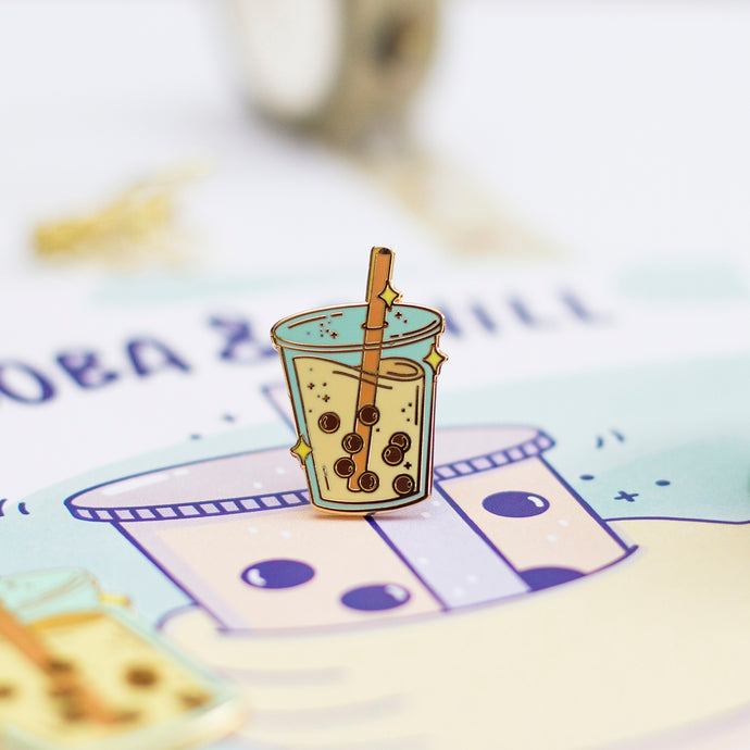 Boba Milk Tea Enamel Pin