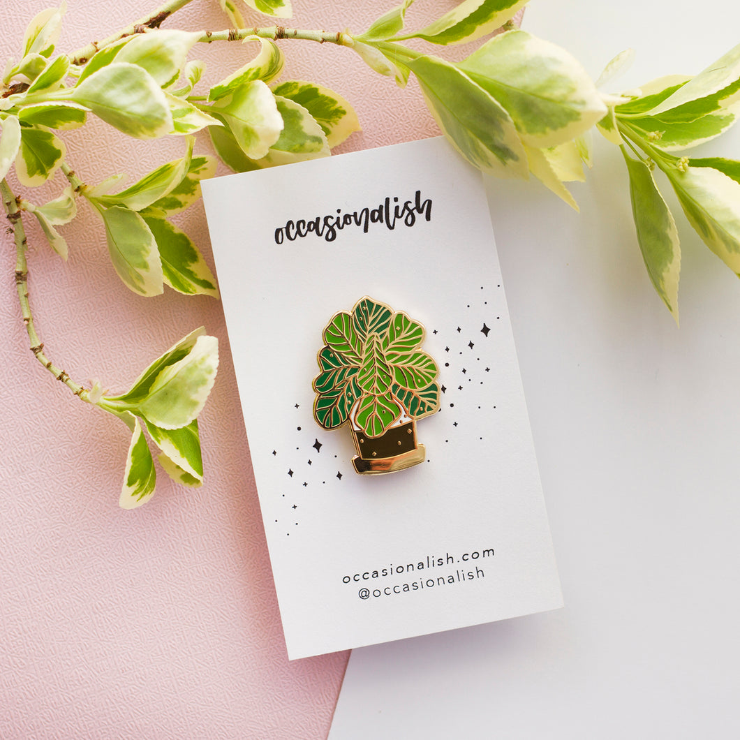 Fiddle Leaf Fig Plant Enamel Pin