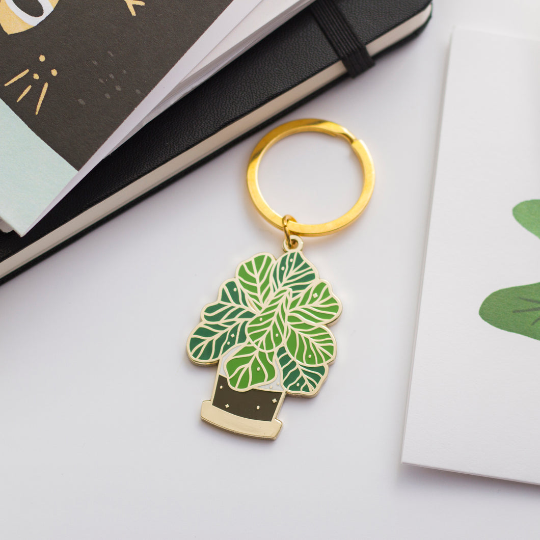 Fiddle Leaf Fig Plant Keychain