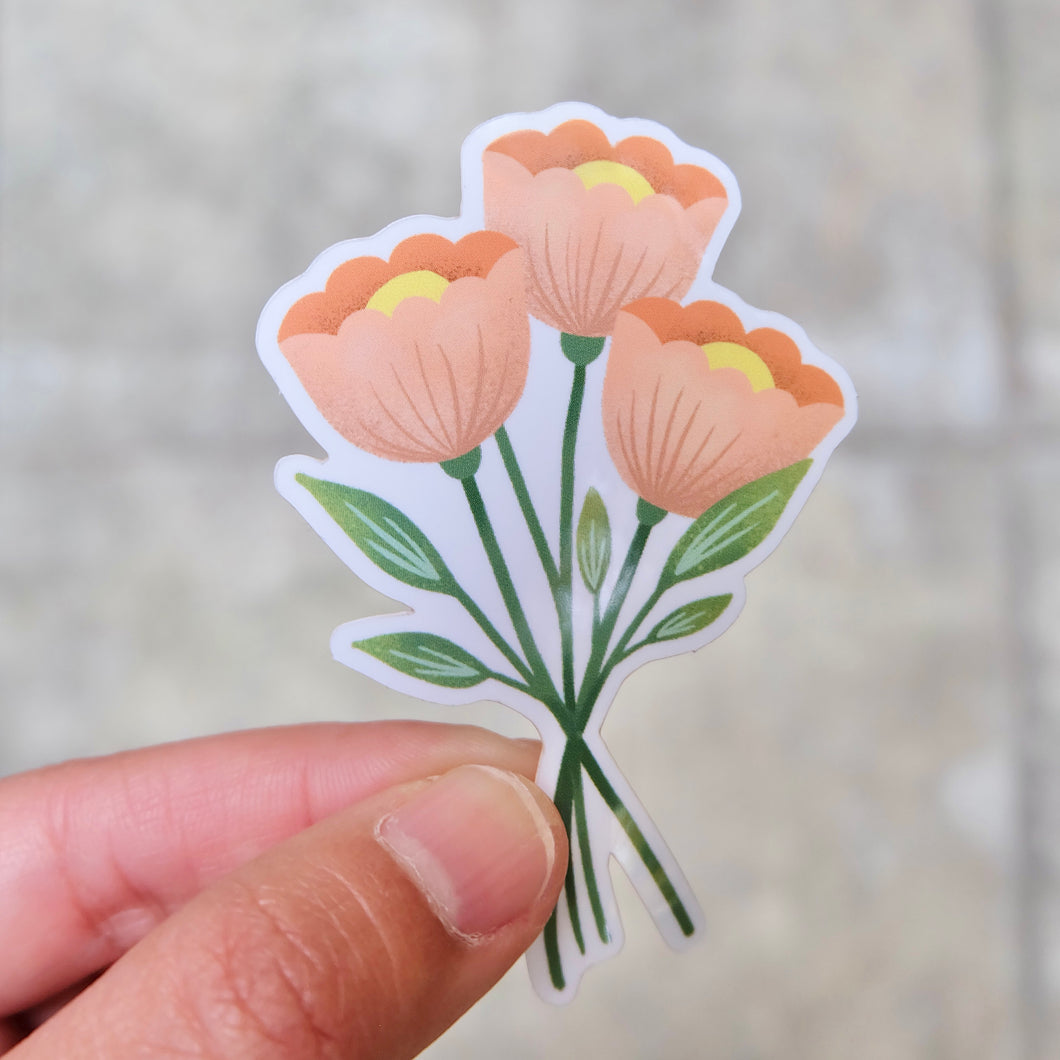 Poppy Flowers Gloss Vinyl Sticker