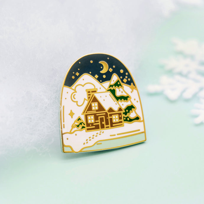 Winter House Enamel Pin