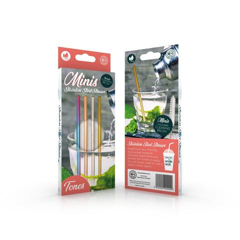 Mini Stainless Steel Straws - Multi Coloured
