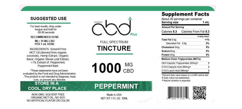 Peppermint Tincture - 1000mg
