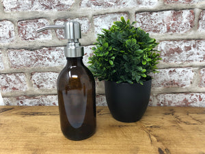 300ml Amber Glass Dispenser Bottle with Different Colour Pumps