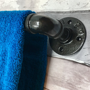 "Industrial Towel Bar made from 3/4"" galvanized iron in various colours"