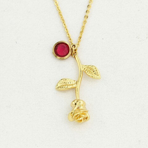3D Rose Flower Necklace  Gold