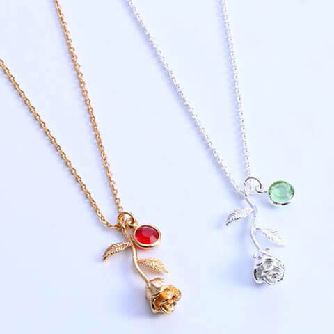 3D Rose Flower Necklace Gold Silver Rose 2 Colors