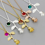 3D Rose Flower Necklace Gold Silver Rose 5 Colors