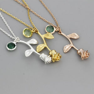 3D Rose Flower Necklace Gold Silver Rose Better Gift