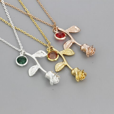 3D Rose Flower Necklace Gold Silver Rose Stone Color Quality