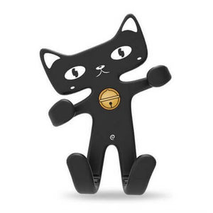 Cute Cat Phone Holder Black