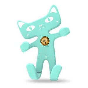 Cute Cat Phone Holder Blue