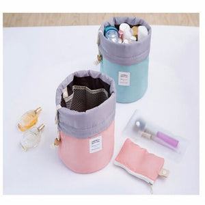 Nylon Barrel Bag Pink and Light Blue