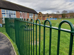 1.5m High Playspec Bowtop Railings & Gates Fitted at a School in Abbey Hulton
