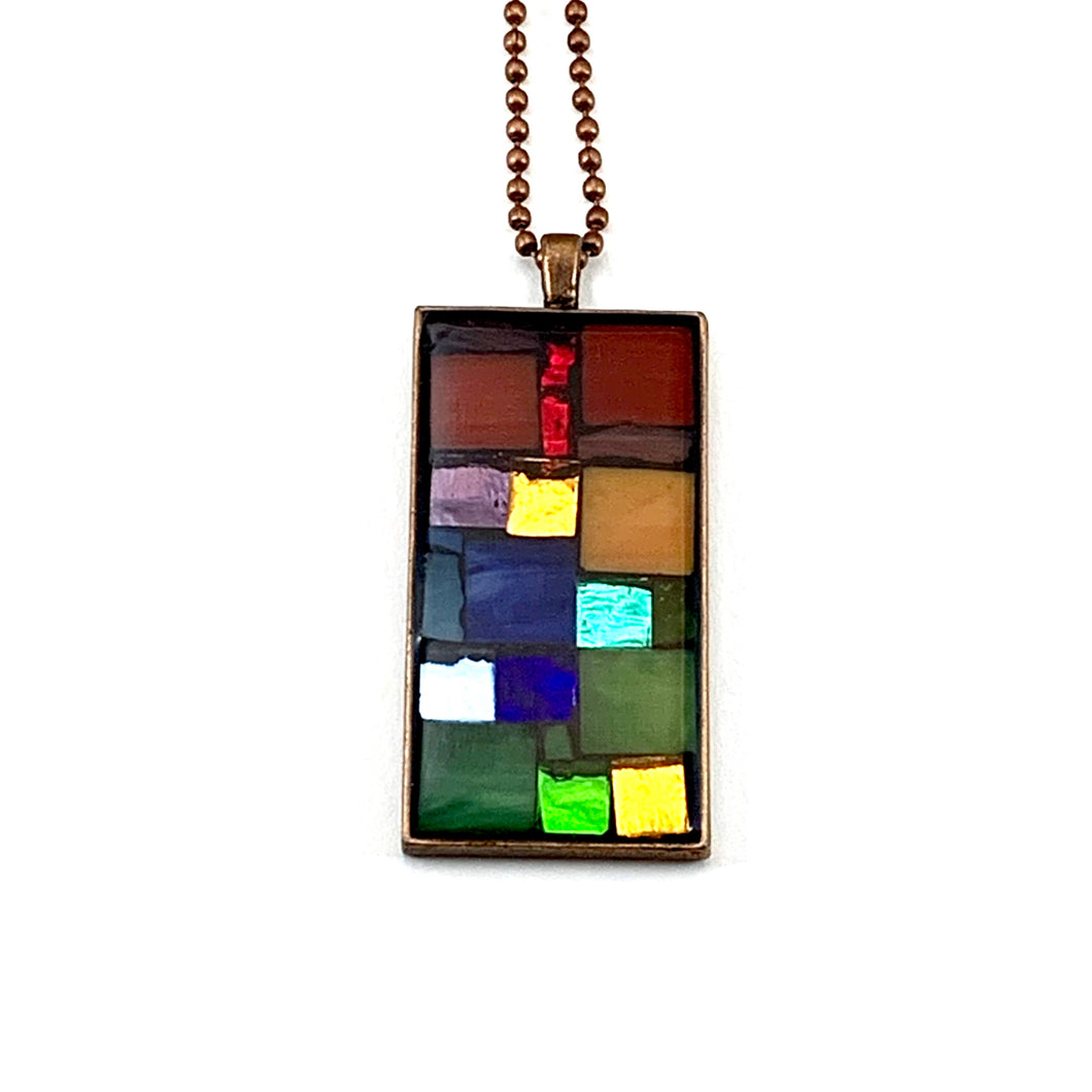 Colorful Mirror and Glass Pendant