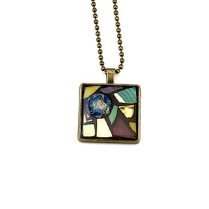Midnight Blue Gemstone Stained Glass Pendant