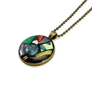 Blue Gemstone Stained Glass Round Pendant