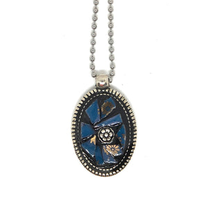 Blue China and Silver Rose Pendant