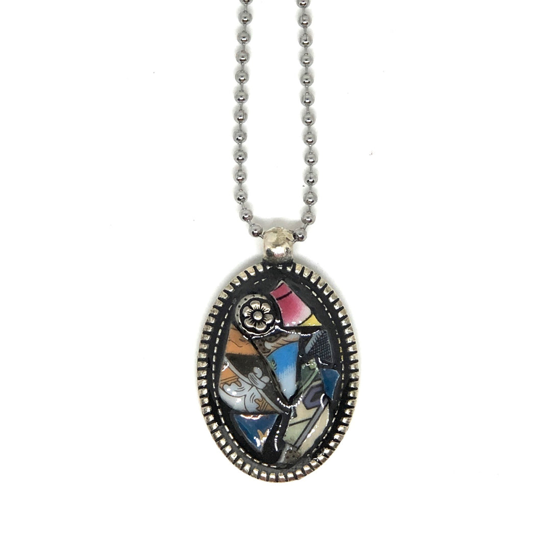 Multicolor China and Silver Rose Pendant