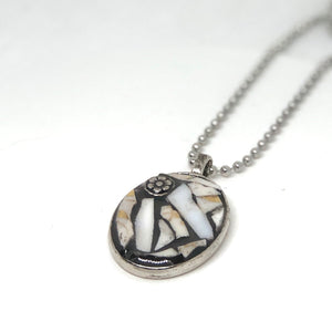 Mosaic China & Silver Rose Teardrop Pendant