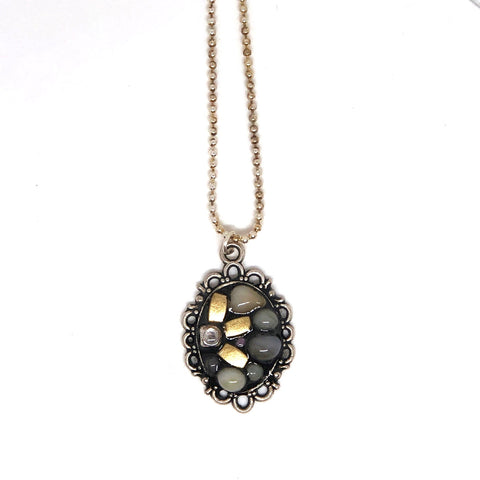Ornate Gold Bead & Pebble Pendant