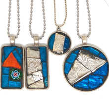 Oversize Ocean Blue Stained Glass Pendant