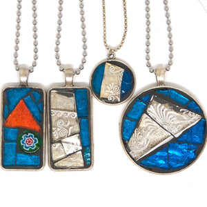 Turquoise & White Stained Glass Pendant