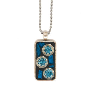 Turquoise Stained Glass & Flower Millefiori Pendant