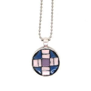 Periwinkle and Pink Geometric Tile Pendant