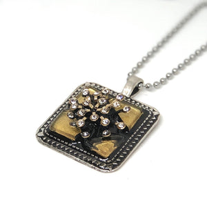 Gold Sparkle Square Pendant