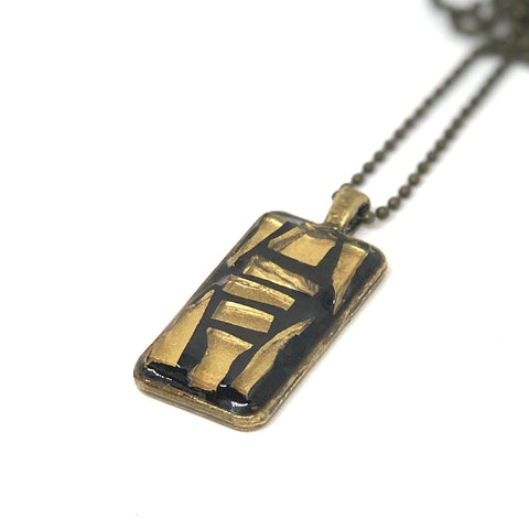 Gold Stained Glass Mosaic Pendant