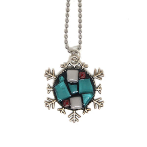 Snowflake Tiffany Stained Glass Pendant