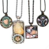 Japanese Bead & Shell Rectangle Pendant