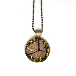 Peach Glass Mosaic Round Pendant
